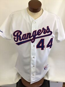 Vintage 1990 Texas Rangers Drew Hall Game Worn Baseball Jersey Size 46