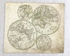 1843 Antique Map of The World North Southern Hemisphere Hand Coloured Engraving