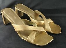 """Unisa Shoes Sandals, Gold Leather, 2 1/2"""" heel, Womens 7B"""