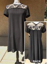 ZARA *PRETTY* (S) BLACK SHIFT LACE YOKE HIGH & LOW 3LEVELS DRESS Size Sml NWTs