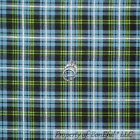 BonEful Fabric FQ Cotton Quilt Blue Green White Navy John Deere Boy Plaid Stripe