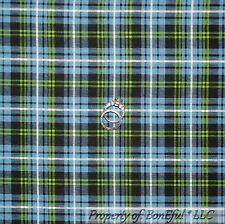 BonEful Fabric FQ Cotton Quilt Blue Green White Navy John Deere Boy Plaid Stripe