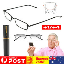 6Pcs Reading Glasses With Foldable Metal Tube Case Men Wome +1+2+2.5+4 Strength