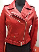 Womens Genuine Leather Classic Crop Biker Jacket Lamb Moto Red S M L XL 2XL 3X