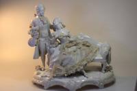 Antike Porzellan Figur Liebespaar Rokoko Paar Gruppe beschädigt