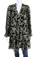Anthropologie Womens Ob Ls Lurex Deep V Tunic Dress Black Gold Size Small