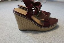 Womens Ladies American Eagle Outfitters wedge espadrilles leather size 8