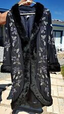 Faux Fur Trim Long Black SILK EMBROIDERED BEADED Evening Coat 8/M SUE WONG NEW!