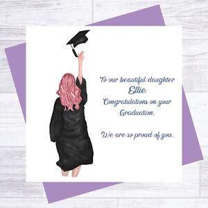 PERSONALISED GRADUATION CONGRATULATIONS CARD DAUGHTER GRANDAUGHTER ANY NAME 01