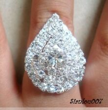 Clear Diamonte/Diamante Silver Tone Large Teardrop Shape Ring - NEW!!