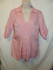 FASHION BUG Pink Button Front V- Neck Blouse Size M medium