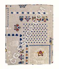 TOVAGLIA rettangolare 12 persone GUFI GUFETTI GUFO 140X240 cm BLU