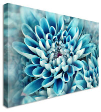 Blue Floral Flower Canvas Wall Art Picture Print