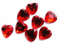 40 Ruby Red Faceted Love Heart Beads 16 Mm Acrylic Rhinestone Gems 2-hole Sew on