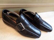 Prada tramline buckle loafer UK 6 40 mens black leather pointed toe slip on