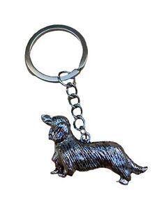 Metallic Long Haired Dachshund Sausage Dog Key Ring Brand New in Bag