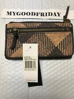 NWT The Sak Sliverton Flap Clutch Wallet COCO Heritage Brown PLAID & Leather $69
