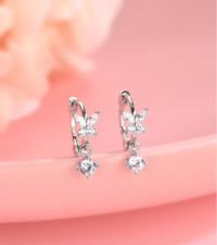 925 Sterling Silver Butterfly Tiny Small Hoop Huggie Earrings Dangle CZ PE40