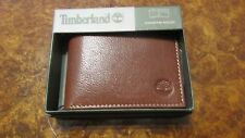 TIMBERLAND Men Genuine Leather Passcase Bifold WALLET NIB Cognac commuter