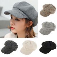 Femmes laine mélange visière béret boulanger gavroche casquette hiver chapeau SH