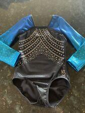 New listing Girls Gymnastics Leotard, K-Bee, Black/Blue, sz 10-11 y.o. - EUC! worn once