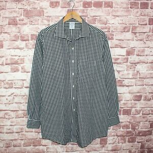 Brooks Brothers REGENT fit Button Up Shirt Black Gingham Check size 17 1/2 - 34