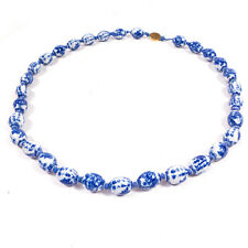 """Vintage Chinese Blue & White Beaded Necklace 26"""" long"""