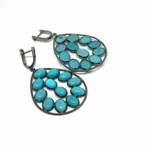 Women 925 Silver Earrings Natural Turquoise Gemstone Clip Earrings Wedding Gifts