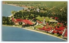Mid-1900s Aerial View of Portsmouth, VA and Naval Hospital Postcard