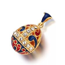 Handmade Blue Russian Style Faberge Easter Egg Pendant Charm Crystal Necklace