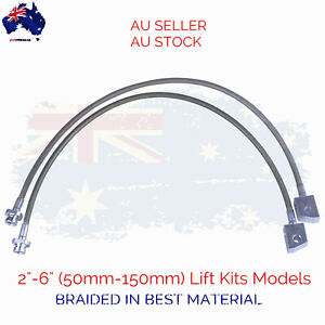 "2x Extended Braided Brake Hose Lines For Nissan Patrol GQ Y60 GU Y61 2""-6"" Lifts"