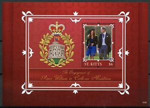 St Kitts 2010 MNH Royal Engagement 1v S/S II Prince William Kate Middleton