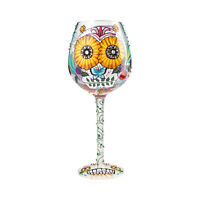 Lolita Sugar Skulls Halloween Day of the Dead Hand Painted Wine Glass