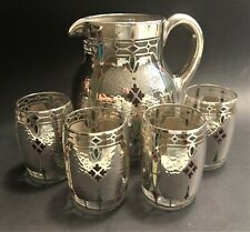 Alvin Corporation  Enamel and Silver Overlay Glass Pitcher and 4 Glasses