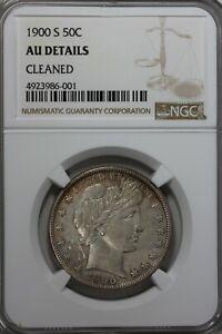 1900 S 50C  NGC     AU DETAILS CLEANED  Barber Half Dollar  50 Cents, 0.50