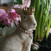 Krone Royal Hasenfigur Hase Samtband Glitzer Figur Dekoration Osterhase König
