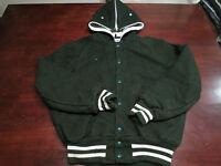 Vintage Mens DeLong Varsity Letterman Jacket 38 Baseball Hooded Wool Green Swag