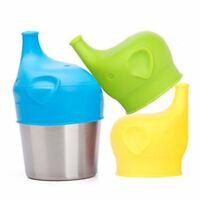 Scoolr Baby Sippy Cup Lids, 3pcs Elephant Spill Proof Food-Grade Silicone Sippy
