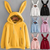 Women Cute Rabbit Ear Hoodie Sweatshirt Casual Long Sleeve Pullover Blouse Tops