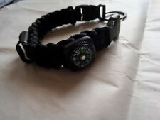 MULTI-FUNCTION UTILITY PARACORD WRIST BAND Black and Compass