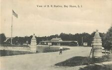 A View Of The R.R. Station, Boy On A Bicycle, Bay Shore, L.I. New York NY 1908