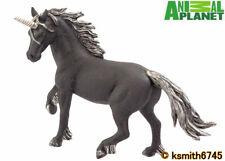Mojo Animal Planet BLACK UNICORN solid plastic toy wild dark horned horse  * NEW