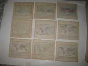SET LOT OF 9 ANTIQUE 1857 WORLD HANDCOLORED MAP RELIGION RAIN RIVER ASIA AFRICA