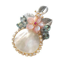 Wholesale Lot 5PCS Handmade Mother of Pearl Crystal Small Point Brooch Pin Gold