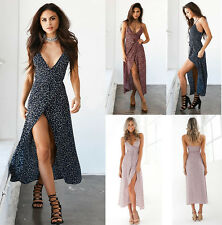 Womens Beach Holiday Maxi Dress Strappy Backless V Neck Floral  Split Sundress