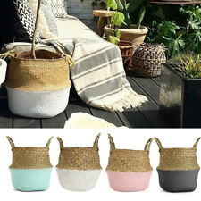 Seagrass Flower Belly Basket Storage Holder Home Plant Pot Organizer Bag New2017