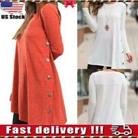 USA Womens Button Long Sleeve Loose Tunic Tops Blouse Ladies Casual Plain Shirt