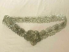 New listing Vintage Silver Fine Metal Smooth Woven Wire Womens Artisan Belt Eye Catching