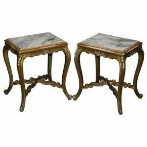 PAIR OF FRENCH CIRCA 1860 NAPOLEON III GOLD GILTWOOD MARBLE TOPPED SIDE TABLES