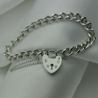 Vintage Curb Chain Bracelet with Heart Padlock in Solid 925 Sterling Silver